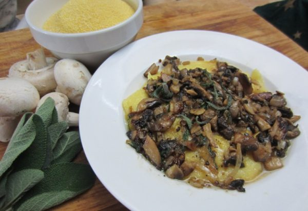 Polenta With Mushrooms Sage & Sun-Dried Tomatoes